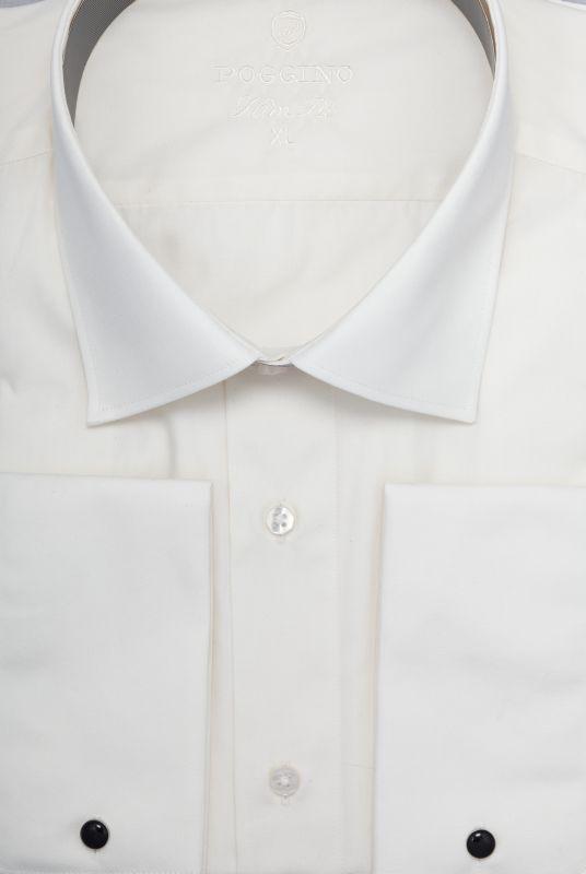 Мужская рубашка под запонки приталенная Poggino