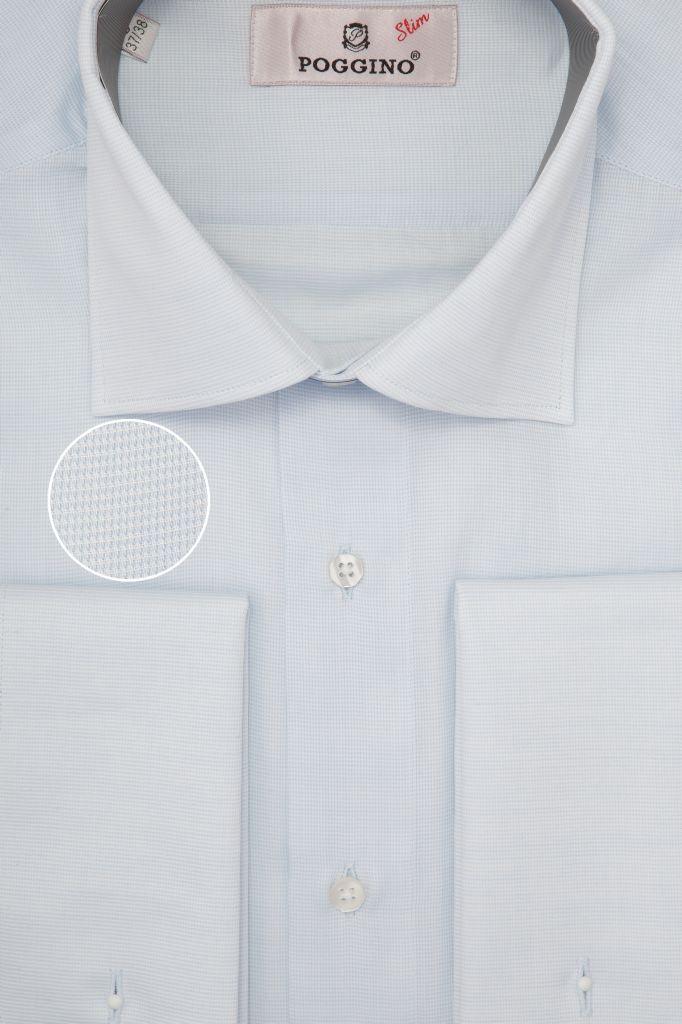 Мужская рубашка под запонки приталенная голубая